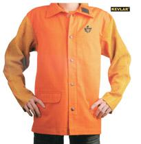 橙红色防火布配金黄色皮袖焊接服