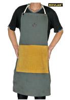 墨绿色防火布配金黄色皮围裙