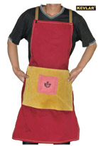 红色防火布配金黄色皮带兜围裙
