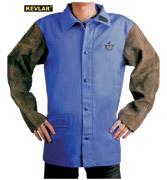 蓝色防火布配炭啡色皮袖焊接服