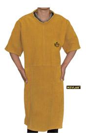 金黄色全皮带领短袖围裙