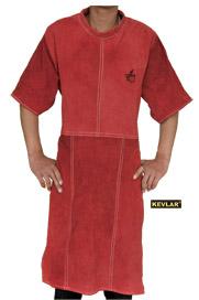 红色全皮带领短袖围裙