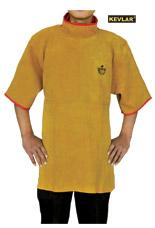 金黄色护胸带领短袖围裙